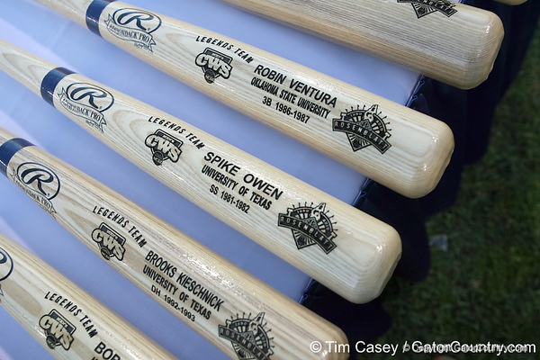 Commemorative bats for the Legends Team are displayed during the College World Series Opening Ceremonies on Friday, June 18, 2010 at Rosenblatt Stadium in Omaha, Neb. / photo by Tim Casey