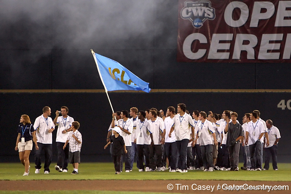 UCLA enters the stadium during the College World Series Opening Ceremonies on Friday, June 18, 2010 at Rosenblatt Stadium in Omaha, Neb. / photo by Tim Casey