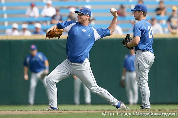 Florida junior pitcher Kevin Chapman warms up during the Gators' pre-College World Series practice on Friday, June 18, 2010 at Rosenblatt Stadium in Omaha, Neb. / photo by Tim Casey