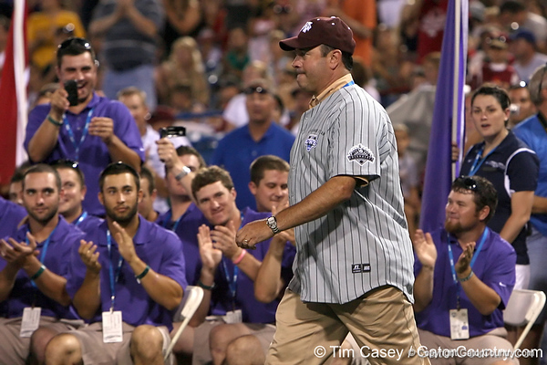 Former Mississippi State first baseman Will Clark is honored during the College World Series Opening Ceremonies on Friday, June 18, 2010 at Rosenblatt Stadium in Omaha, Neb. / photo by Tim Casey