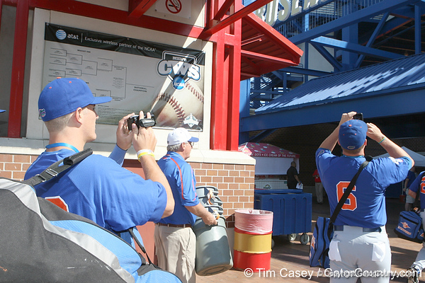Florida senior catcher Hampton Tignor shoots a video during the Gators' pre-College World Series practice on Friday, June 18, 2010 at Rosenblatt Stadium in Omaha, Neb. / photo by Tim Casey