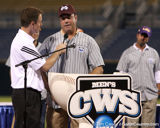 Former Mississippi State first baseman Will Clark talks about his playing experience during the College World Series Opening Ceremonies on Friday, June 18, 2010 at Rosenblatt Stadium in Omaha, Neb. / photo by Tim Casey