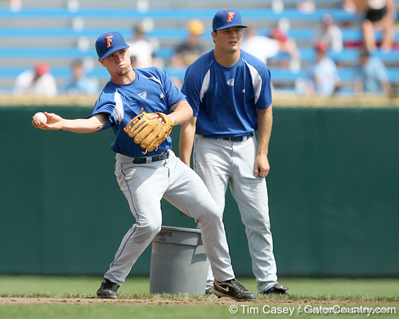 Florida freshman infielder Nolan Fontana throws to second base during the Gators' pre-College World Series practice on Friday, June 18, 2010 at Rosenblatt Stadium in Omaha, Neb. / photo by Tim Casey