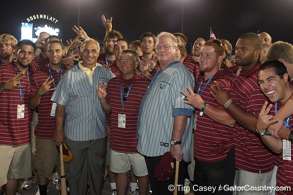Arizona State legends pose with Sun Devils' players during the College World Series Opening Ceremonies on Friday, June 18, 2010 at Rosenblatt Stadium in Omaha, Neb. / photo by Tim Casey