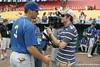 Florida freshman catcher Mike Zunino talks with Cody Jones during the Gators' pre-College World Series practice on Friday, June 18, 2010 at Rosenblatt Stadium in Omaha, Neb. / photo by Tim Casey
