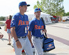 Florida freshman pitcher Brian Johnson and senior pitcher Jeff Barfield arrive for the Gators' pre-College World Series practice on Friday, June 18, 2010 at Rosenblatt Stadium in Omaha, Neb. / photo by Tim Casey