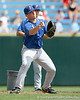 Florida freshman catcher Mike Zunino throws to first base during the Gators' pre-College World Series practice on Friday, June 18, 2010 at Rosenblatt Stadium in Omaha, Neb. / photo by Tim Casey