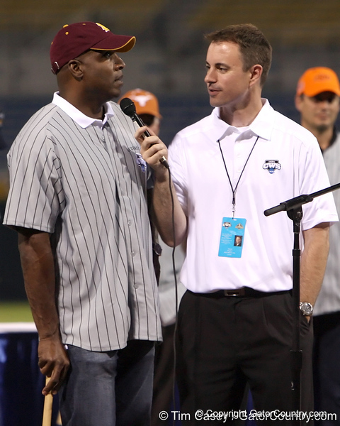 Former Arizona State outfielder Barry Bonds talks about his playing experience during the College World Series Opening Ceremonies on Friday, June 18, 2010 at Rosenblatt Stadium in Omaha, Neb. / photo by Tim Casey