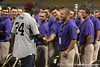 Former Arizona State outfielder Barry Bonds greets TCU players during the College World Series Opening Ceremonies on Friday, June 18, 2010 at Rosenblatt Stadium in Omaha, Neb. / photo by Tim Casey
