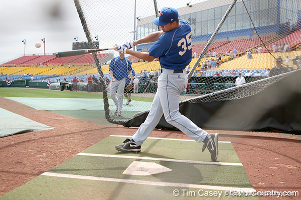 Florida freshman pitcher Brian Johnson takes batting practice during the Gators' pre-College World Series practice on Friday, June 18, 2010 at Rosenblatt Stadium in Omaha, Neb. / photo by Tim Casey