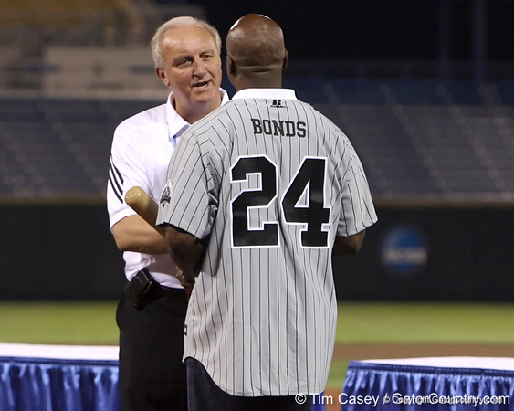 Former Arizona State outfielder Barry Bonds is honored during the College World Series Opening Ceremonies on Friday, June 18, 2010 at Rosenblatt Stadium in Omaha, Neb. / photo by Tim Casey
