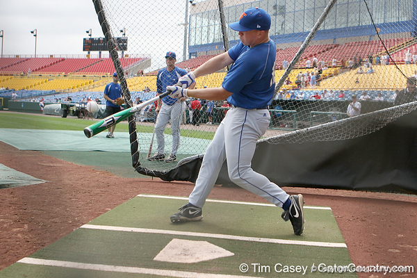 Florida sophomore infielder Jerico Weitzel takes batting practice during the Gators' pre-College World Series practice on Friday, June 18, 2010 at Rosenblatt Stadium in Omaha, Neb. / photo by Tim Casey