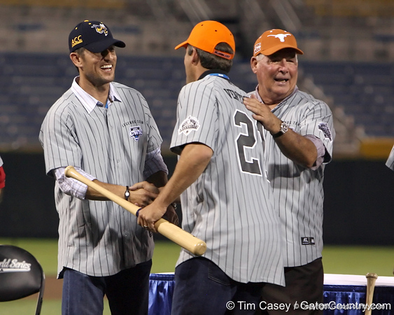 Former Oklahoma State third baseman Robin Ventura is honored during the College World Series Opening Ceremonies on Friday, June 18, 2010 at Rosenblatt Stadium in Omaha, Neb. / photo by Tim Casey