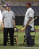 Former LSU coach Skip Bertman talks with former Arizona State outfielder Barry Bonds during the College World Series Opening Ceremonies on Friday, June 18, 2010 at Rosenblatt Stadium in Omaha, Neb. / photo by Tim Casey