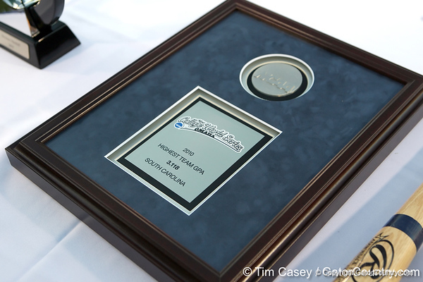 A plaque was awarded to South Carolina's baseball team for having the highest GPA of all 8 final teams during the College World Series Opening Ceremonies on Friday, June 18, 2010 at Rosenblatt Stadium in Omaha, Neb. / photo by Tim Casey