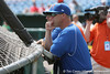 Florida baseball head coach Kevin O'Sullivan watches batting practice during the Gators' pre-College World Series practice on Friday, June 18, 2010 at Rosenblatt Stadium in Omaha, Neb. / photo by Tim Casey