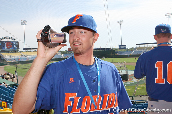 Florida junior Josh Adams makes a video during the Gators' pre-College World Series practice on Friday, June 18, 2010 at Rosenblatt Stadium in Omaha, Neb. / photo by Tim Casey