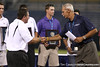 South Carolina coach Ray Tanner receives an award for his team leading all teams in average GPA during the College World Series Opening Ceremonies on Friday, June 18, 2010 at Rosenblatt Stadium in Omaha, Neb. / photo by Tim Casey