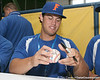 Florida sophomore Preston Tucker signs an autograph during the Gators' pre-College World Series practice on Friday, June 18, 2010 at Rosenblatt Stadium in Omaha, Neb. / photo by Tim Casey