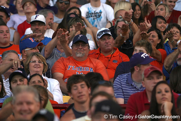 Florida fans cheer during the College World Series Opening Ceremonies on Friday, June 18, 2010 at Rosenblatt Stadium in Omaha, Neb. / photo by Tim Casey