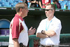 FSU athletic director Randy Spetman talks with an official during the Gators' pre-College World Series practice on Friday, June 18, 2010 at Rosenblatt Stadium in Omaha, Neb. / photo by Tim Casey