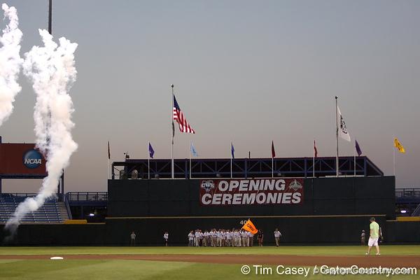 The Florida baseball team enters the stadium during the College World Series Opening Ceremonies on Friday, June 18, 2010 at Rosenblatt Stadium in Omaha, Neb. / photo by Tim Casey
