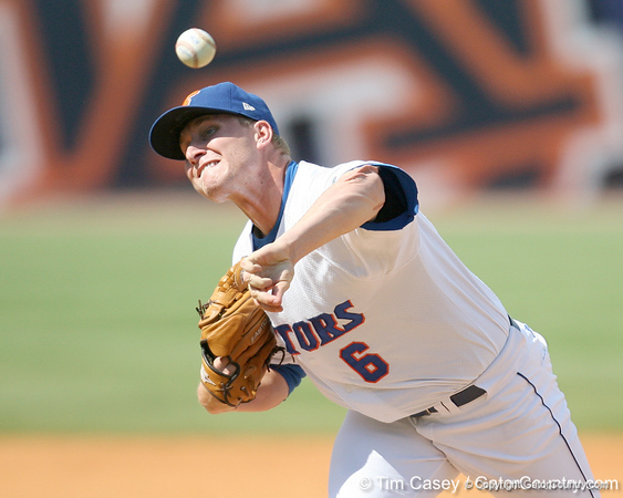 Florida junior pitcher Kevin Chapman delivers a pitch during the Gators' 5-4 win against the Arkansas Razorbacks in the SEC Tournament on Thursday, May 27, 2010 at Regions Park in Hoover, Ala. / Gator Country photo by Tim Casey