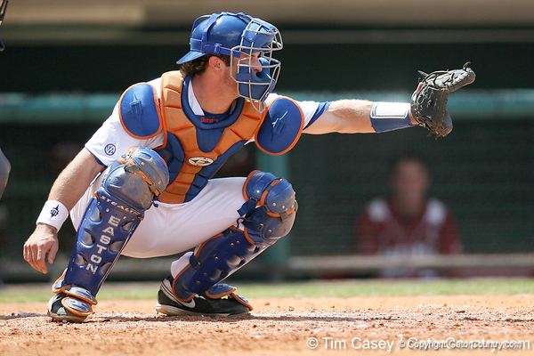 Florida sophomore catcher Ben McMahan gets in position during the Gators' 5-4 win against the Arkansas Razorbacks in the SEC Tournament on Thursday, May 27, 2010 at Regions Park in Hoover, Ala. / Gator Country photo by Tim Casey