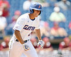 Florida sophomore outfielder Tyler Thompson grounds out to second base during the Gators' 5-4 win against the Arkansas Razorbacks in the SEC Tournament on Thursday, May 27, 2010 at Regions Park in Hoover, Ala. / Gator Country photo by Tim Casey