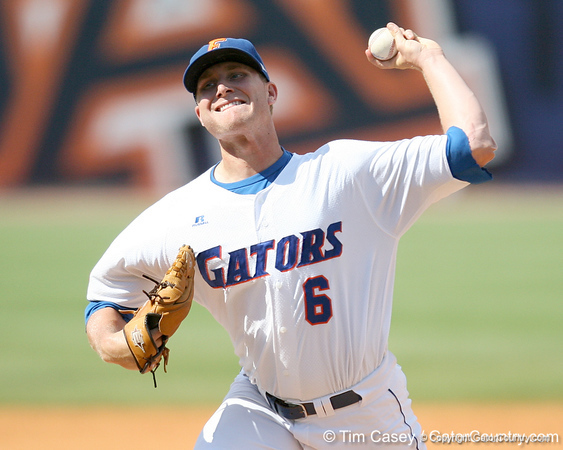Florida junior pitcher Kevin Chapman winds up during the Gators' 5-4 win against the Arkansas Razorbacks in the SEC Tournament on Thursday, May 27, 2010 at Regions Park in Hoover, Ala. / Gator Country photo by Tim Casey