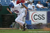 Florida freshman infielder Cody Dent scores on a double-steal play during the Gators' 5-4 win against the Arkansas Razorbacks in the SEC Tournament on Thursday, May 27, 2010 at Regions Park in Hoover, Ala. / Gator Country photo by Tim Casey