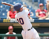 Florida freshman Austin Maddox hits an RBI single to left field during the Gators' 5-4 win against the Arkansas Razorbacks in the SEC Tournament on Thursday, May 27, 2010 at Regions Park in Hoover, Ala. / Gator Country photo by Tim Casey
