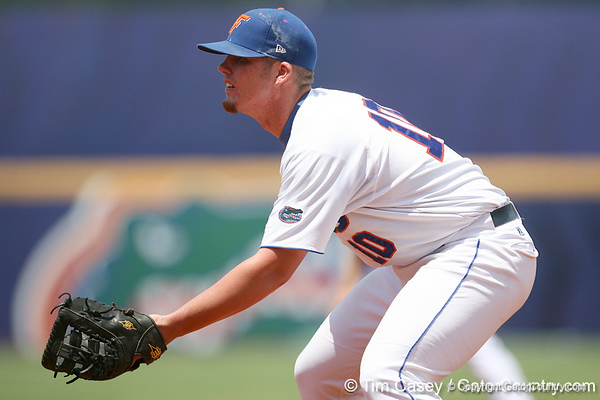 Florida freshman first baseman Austin Maddox gets in position during the Gators' 5-4 win against the Arkansas Razorbacks in the SEC Tournament on Thursday, May 27, 2010 at Regions Park in Hoover, Ala. / Gator Country photo by Tim Casey