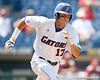 Florida senior Matt den Dekker runs to first base on a foul ball during the Gators' 5-4 win against the Arkansas Razorbacks in the SEC Tournament on Thursday, May 27, 2010 at Regions Park in Hoover, Ala. / Gator Country photo by Tim Casey