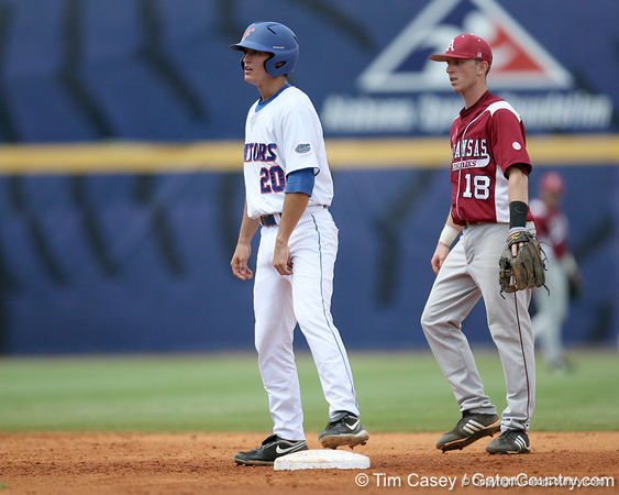 Florida freshman infielder Cody Dent stands on second base during the Gators' 5-4 win against the Arkansas Razorbacks in the SEC Tournament on Thursday, May 27, 2010 at Regions Park in Hoover, Ala. / Gator Country photo by Tim Casey