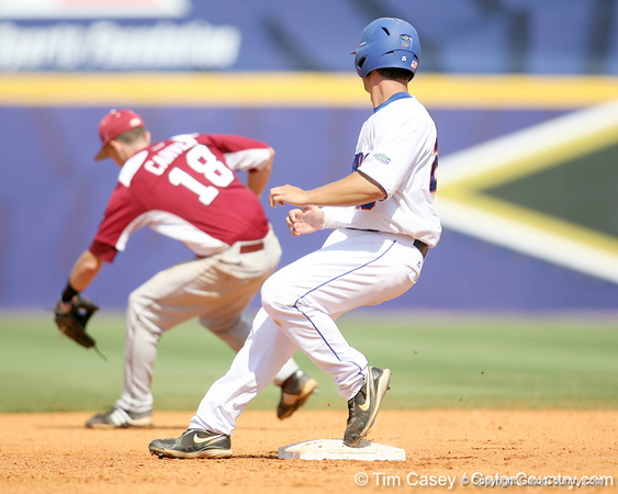 Florida sophomore Preston Tucker reaches second base after an error on the second baseman during the Gators' 5-4 win against the Arkansas Razorbacks in the SEC Tournament on Thursday, May 27, 2010 at Regions Park in Hoover, Ala. / Gator Country photo by Tim Casey