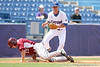 Florida freshman infielder Cody Dent tags out Arkansas' Tam Hauskey on an assist from Nolan Fontana during the Gators' 5-4 win against the Arkansas Razorbacks in the SEC Tournament on Thursday, May 27, 2010 at Regions Park in Hoover, Ala. / Gator Country photo by Tim Casey