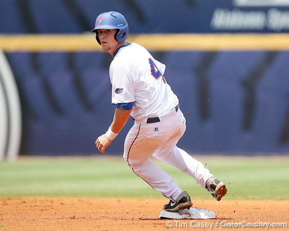 Florida freshman infielder Nolan Fontana reaches second base during the Gators' 5-4 win against the Arkansas Razorbacks in the SEC Tournament on Thursday, May 27, 2010 at Regions Park in Hoover, Ala. / Gator Country photo by Tim Casey