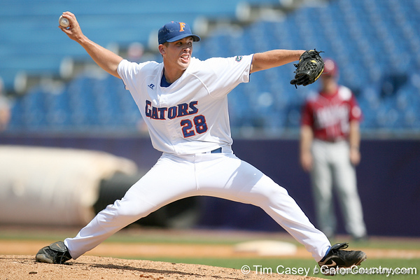 Florida senior pitcher Jeff Barfield winds up during the Gators' 5-4 win against the Arkansas Razorbacks in the SEC Tournament on Thursday, May 27, 2010 at Regions Park in Hoover, Ala. / Gator Country photo by Tim Casey