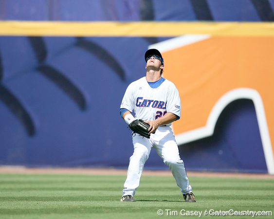 Florida sophomore Preston Tucker catches a fly ball in right field during the Gators' 5-4 win against the Arkansas Razorbacks in the SEC Tournament on Thursday, May 27, 2010 at Regions Park in Hoover, Ala. / Gator Country photo by Tim Casey