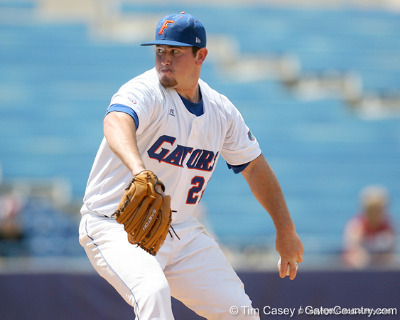 Florida sophomore pitcher Alex Panteliodis winds up during the Gators' 5-4 win against the Arkansas Razorbacks in the SEC Tournament on Thursday, May 27, 2010 at Regions Park in Hoover, Ala. / Gator Country photo by Tim Casey