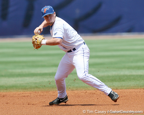 Florida freshman shortstop Nolan Fontana throws out a runner during the Gators' 5-4 win against the Arkansas Razorbacks in the SEC Tournament on Thursday, May 27, 2010 at Regions Park in Hoover, Ala. / Gator Country photo by Tim Casey