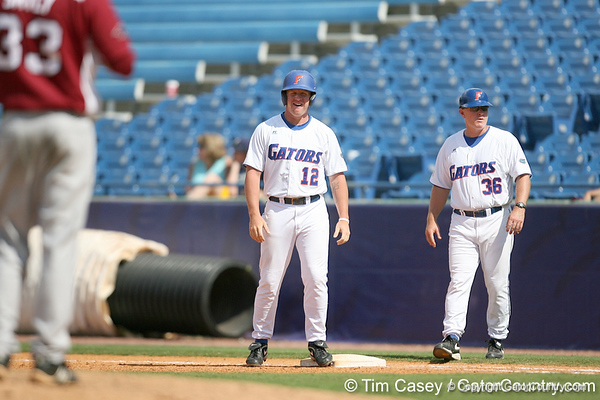 Florida sophomore infielder Jerico Weitzel checks into the game as a pinch runner during the Gators' 5-4 win against the Arkansas Razorbacks in the SEC Tournament on Thursday, May 27, 2010 at Regions Park in Hoover, Ala. / Gator Country photo by Tim Casey