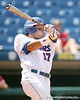 Florida senior Matt den Dekker follows through on a swing during the Gators' 5-4 win against the Arkansas Razorbacks in the SEC Tournament on Thursday, May 27, 2010 at Regions Park in Hoover, Ala. / Gator Country photo by Tim Casey