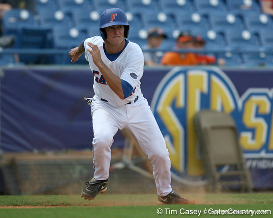 Florida freshman infielder Cody Dent takes a walking lead from third base during the Gators' 5-4 win against the Arkansas Razorbacks in the SEC Tournament on Thursday, May 27, 2010 at Regions Park in Hoover, Ala. / Gator Country photo by Tim Casey