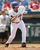 Florida junior Josh Adams bunts the ball during the Gators' 5-4 win against the Arkansas Razorbacks in the SEC Tournament on Thursday, May 27, 2010 at Regions Park in Hoover, Ala. / Gator Country photo by Tim Casey