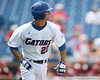 Florida freshman infielder Cody Dent runs out a single to left-centerfield during the Gators' 5-4 win against the Arkansas Razorbacks in the SEC Tournament on Thursday, May 27, 2010 at Regions Park in Hoover, Ala. / Gator Country photo by Tim Casey
