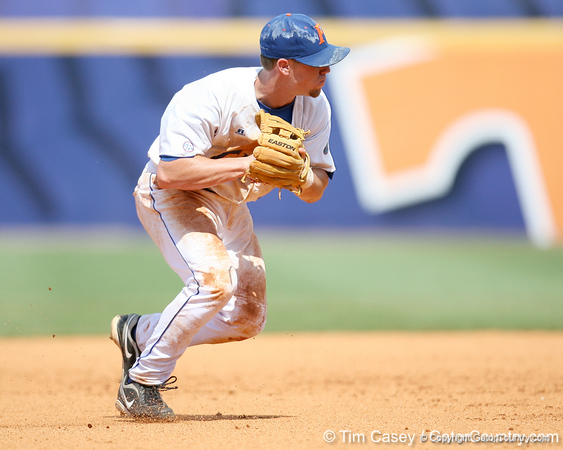 Florida freshman shortstop Nolan Fontana throws out a runner at first base during the Gators' 5-4 win against the Arkansas Razorbacks in the SEC Tournament on Thursday, May 27, 2010 at Regions Park in Hoover, Ala. / Gator Country photo by Tim Casey
