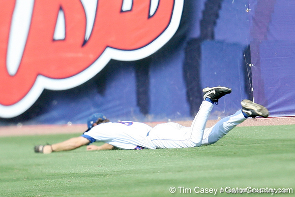 Florida senior outfielder Jonathan Pigott makes a diving catch during the Gators' 5-4 win against the Arkansas Razorbacks in the SEC Tournament on Thursday, May 27, 2010 at Regions Park in Hoover, Ala. / Gator Country photo by Tim Casey