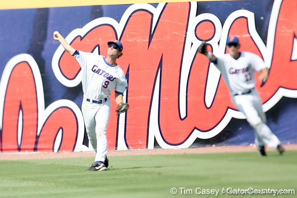 Florida senior outfielder Jonathan Pigott throws to the infield for a game-ending double play during the Gators' 5-4 win against the Arkansas Razorbacks in the SEC Tournament on Thursday, May 27, 2010 at Regions Park in Hoover, Ala. / Gator Country photo by Tim Casey